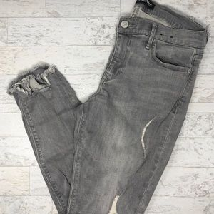Express Grey Distressed Ankle Legging Mid Rise